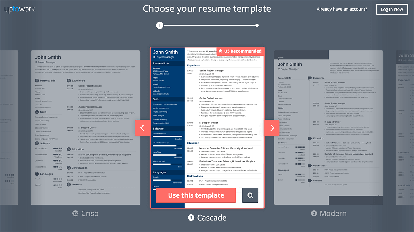 Uptowork Resume Builder screenshot templates